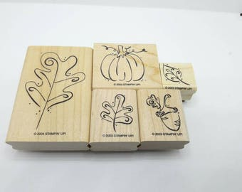 Gently Used Stampin Up Stamps, Fall and Autumn theme stamps, DESTASH, pumpkin, leaves, acorn, outline stamps