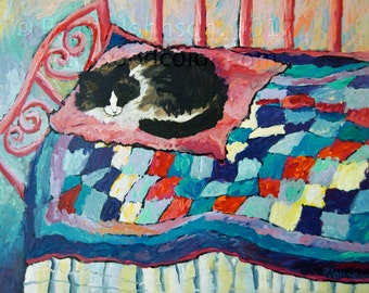 Sleeping cat on pink blue quilt painting giclee art print choose your size Peggy Johnson  everygoodcolor