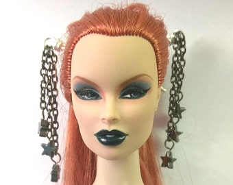 Doll Hair Accessories Hematite Star and Gunmetal Hair Sticks for Fashion Royalty, Monster High, Barbie, Poppy Parker, etc