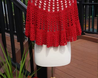 Crochet Be a Friend  shawl- Crescent shape- Red with sparkles
