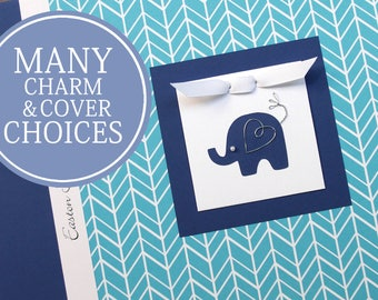 Toddler Memory Book   Toddler Years Baby Book   Personalized First Birthday Gift   12 Months - 5 Years   Boy   Blue Feather with Elephant