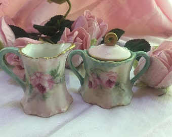 Hand painted porcelain creamer and sugar shabby , antique look
