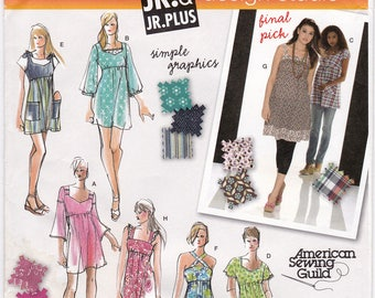 """FF Simplicity 3807 Women's Mini Dress or Tunic and Dress, Sweetheart Neck + Variations Sewing Pattern, Size 5-16, Bust 29""""-41"""", UNCUT"""