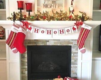 Ho Ho Ho BANNER / Christmas Decoration - Santa Merry Christmas Banner - Holiday Banner - Holiday Photo Prop - Christmas Card Photo prop