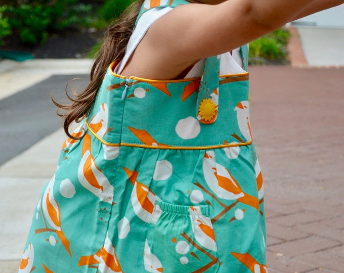 Jumper Dress - Kids Dress - Toddler Clothes - Back To School Clothes - Romper Dress - Kids Photo Prop - Organic Cotton Dress for Girls
