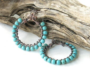 Turquoise hoop earrings - wire wrapped copper & blue stone beads
