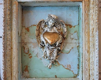Distressed angel wall sculpture in shadowbox wall hanging shabby cottage chic adorned angelic display home decor anita spero design