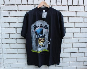 Vintage SLASH Guns N Roses Shirt Size L Large Black Death Vodka Live Promo Concert Rock N Roll