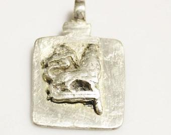Unique Lion of Judah Pendant from Ethiopia 49X30 mm, Rasta Pendant  (AM64)