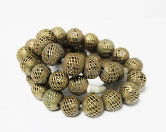 African Brass Cage Beads for Jewelry Making, Handmade Ethnic Beads (*AP169*)