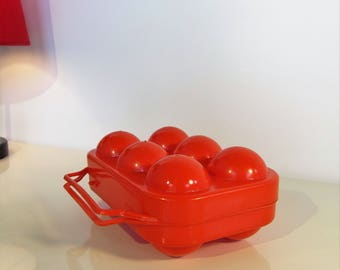 Vintage Retro French Eggs Basket Red Color 6 Egg Storage Plastic Egg Carrier Home Farmhouse Decor from the 80s