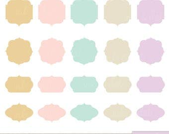 Pastel Frames Clip Art Set - Ribbons, Wedding, Badges, Clipart Banners, Frames, Labels, Clipart Personal Commercial Use  - INSTANT DOWNLOAD!