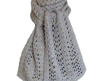 Hand Knit Scarf - Grey Lavender Pale Blue Cashmere Silk Feather & Fan