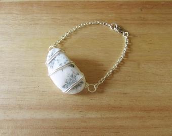Wire Wrapped White Beach Stone Bracelet