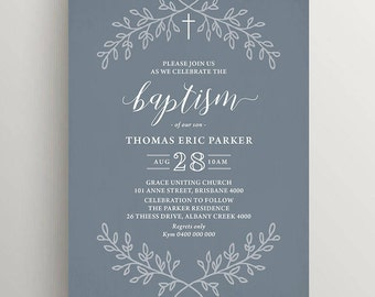 Printable Boy Baptism Invitation (CH63)