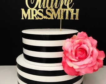 custom future Mrs cake topper- bridal shower cake topper