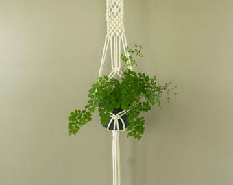 Macrame plant hanger, natural white cotton cord