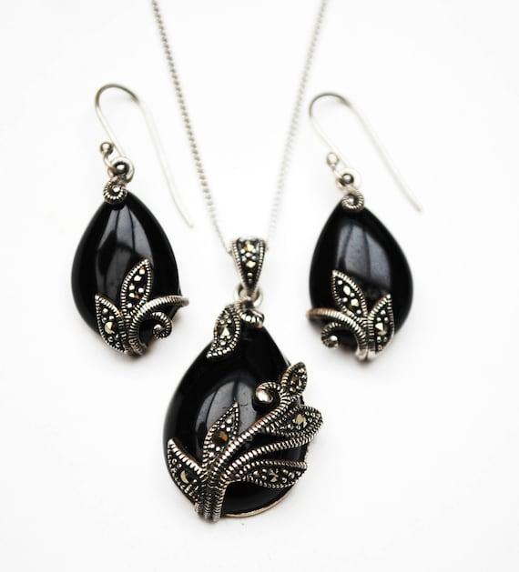 Onyx Marcasite Sterling necklace Earrings Set - Black tear drop black gemstone - Art Deco style  -