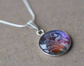 sterling silver pendant necklace sterling silver and purple necklace sterling silver purple necklace sterling silver pendent silver Ag925