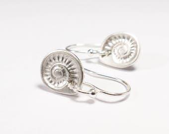 Silver Ammonite Earrings - Fossil Jewellery - Geology Jewelry - Fossil Earrings - Beach Jewellery - Silver Drop Earrings