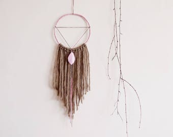 Minimalist dreamcatcher, wall hanging, handmade, triangle dream catcher, pink, brown, wall decor, bohemian, nursery, bedroom, large, boho