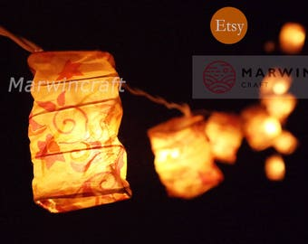 LED Battery Operated or Plug 20 35 Symbol Art Japanese LANTERN Shade Mulberry Paper Fairy String Lights Wedding Floor Hanging Living Bedroom