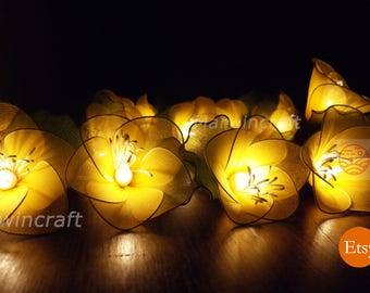 Battery or Plug 20 Yellow Rain Lilly Flower Fairy String Lights Hanging Party Patio Wedding Garland Gift Home Living Bedroom Holiday Decor