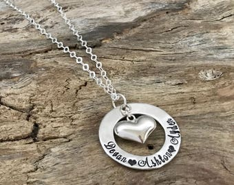 Personalized Mommy Necklace Puffy Heart |Mommy jewelry |Mommy Name Sterling Silver |Personalized Mommy Necklace |Custom Hand Stamped Jewelry