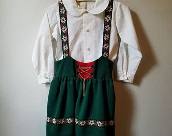 Vintage 60s Girls German Dress in Dark Green with Retro Trim  and White Blouse by Elfe - Size 6 - Like New Condition- Oktoberfest