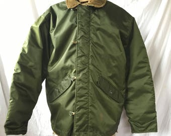 US Army Extreme Cold Weather Jacket 1980s Vintage, US Military Alpha Industries Impermeable Cold Weather Flight Jacket Sage Green Size Small