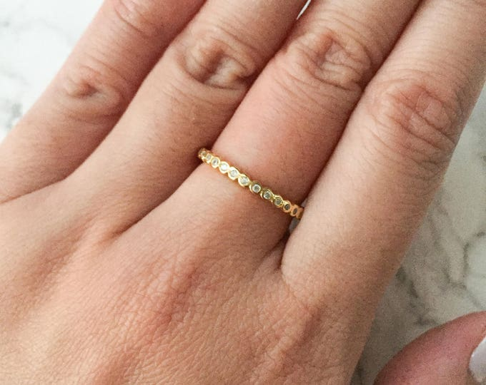 Simple Gold CZ Bezel Infinity Band Ring