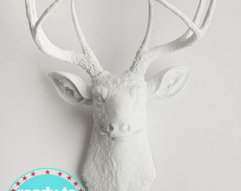 Quick Ship! Faux Taxidermy Deer Head Wall Decor. From White, to Black, & Glitter Antlers in Between. By White Faux Taxidermy (Mon-Thurs*)