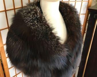 Vintage 60s Silver Tip Brown Fox Fur Stole by Frankie Horton of Santa Cruz