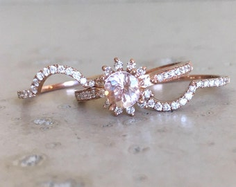 morganite engagement ring set rose gold morganite ring 14k floral engagement ring morganite - Morganite Wedding Ring Set