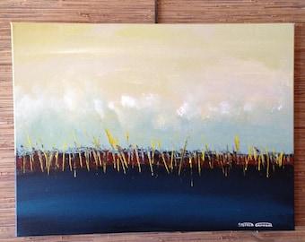 "ORiGiNAL 24 x 18 Landscape ABSTRACT   -""Yellow Reeds""  original Acrylic Paint on canvas   -   24"" X 18""   (# 17-2160)"