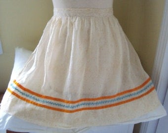 Adult Apron, with orange and turquoise trim, c. 1970's
