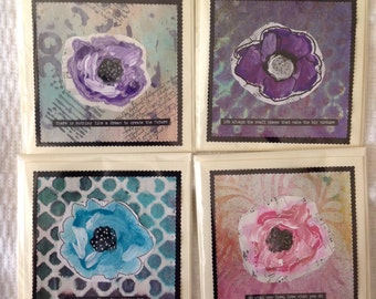 Handmade Mixed Media Quote Greeting Cards Floral Flower Set 2
