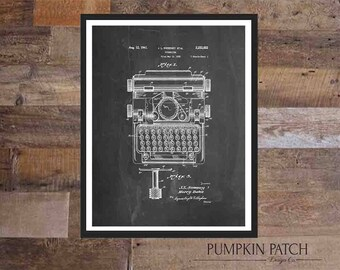 TYPEWRITER Patent, Printable Wall Art, Chalkboard, White, 16X20 Instant Download, 8X10