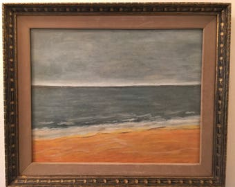 Lovely Moody Vintage Beach Scape in Oil Pastel, Signed and Dated '75
