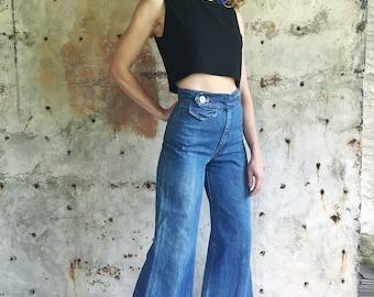Shake it 1970s Wide Leg High Waist Flare Jeans 25 26 XS