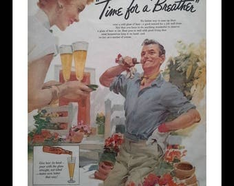 Well, well, well... a beer sounds GOOD right now!!! Illustrated couple Funny Faces Redhead Gardening Empty Nesters.  Beer Ad. Ready Frame.