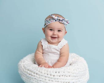 Boho print Head wrap, knotted Headband, Baby turban headband, Newborn headband, Infant headband, Baby turban, Headwrap, knit headband
