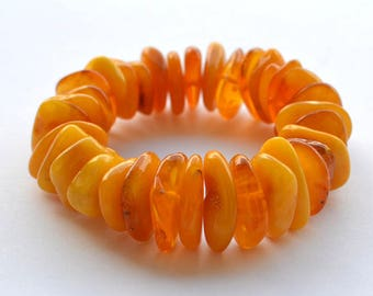 Natural Baltic Amber Bracelet - Yellow Gold Amber Jewelry - Summer Time - Egg Yolk Amber Bracelet