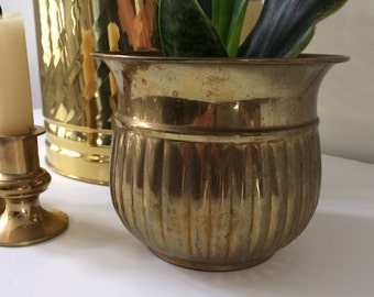 solid brass pot / planter / Boho