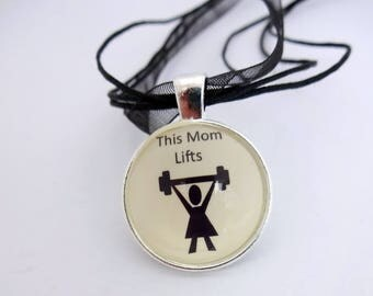 Mom necklace,mum necklace,motivational pendant,fitness jewelry,beast mode charm,fit mom,fitness mom jewelry,cross training,strong mom