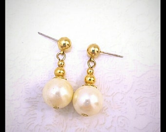 Faux Gold and Faux Pearl Drop Earrings