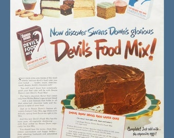 Chocolate Cake Wall Art - Vintage Kitchen Baking Ad For Swans Down Devil's Food Cake Mix