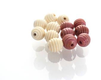Mini Ribbed Round Lampwork Beads