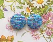 Fabric Button Earrings / Wholesale Jewelry / Blue Abstract Print / Handmade in USA / Small Gifts / Stud Earrings / Statement Jewelry