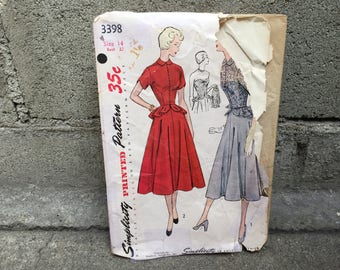 50's Simplicity 3398 Pattern Misses' One-Piece Dress and Jacket - Size 14 Bust 32